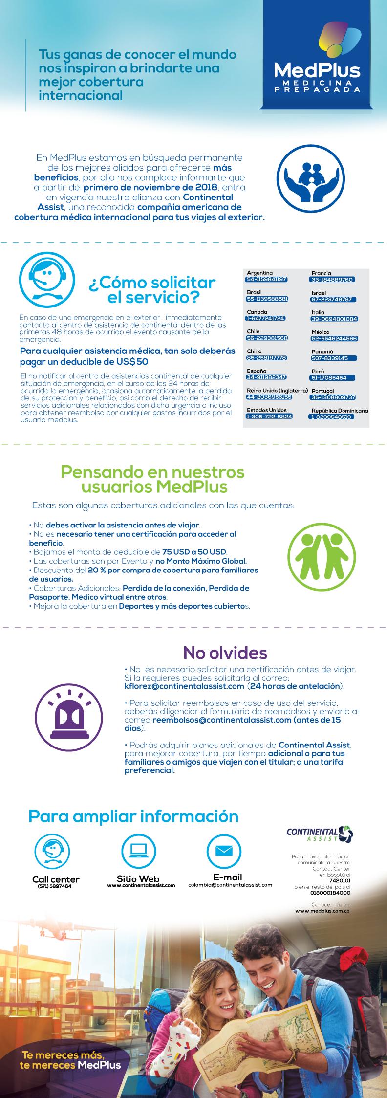 Asistencia médica internacional Continental Assist - MedPlus Medicina Prepagada